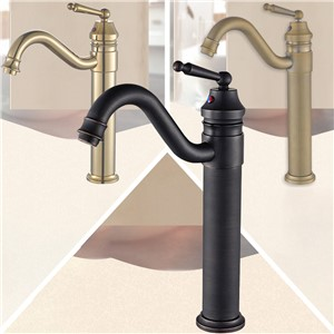Bathroom Vessel Vanity Faucet, Solid Brass, High Arc, Hot/Cold Water Mixed, Antique Brass, Black, Polished Gold, 2232