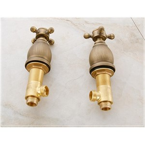 wall mounted antique brass faucet bathroom water tap antique basin faucet Dual Holder Three-hole GZ-7105