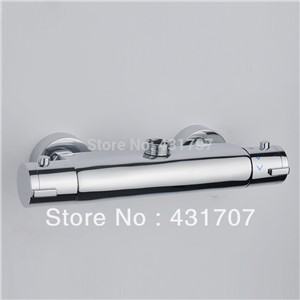 Water Heater Wall Mounted Two Handle Thermostatic Shower Faucet Thermostatic Mixer For Shower, Exposed Shower Faucets Chrome