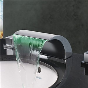 Contemporary Arcuate Spout Waterfall LED Changing Color Bathroom Sink Faucet Basin Mixer Tap