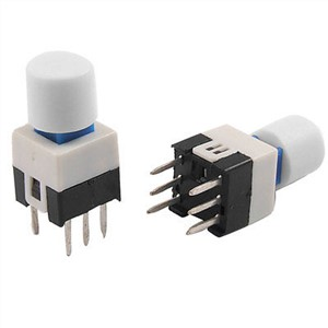 7 x 7mm White Cap Latching Push Button Tact Tactile Switch Lock 6 Pin PCB