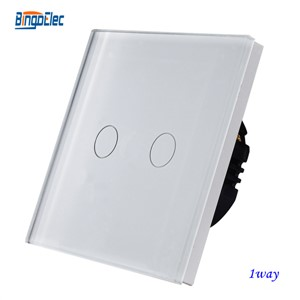 EU/UK standard AC110-250V white glass panel 2gang 1way touch sensor light switch