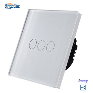 EU UK 110V 22V wall mounted white glass panel 3gang 2way switch stair switch