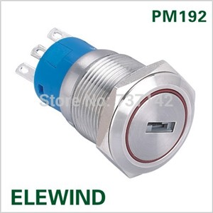 ELEWIND 19mm 2 position metal key switch(PM192F-11Y/21)