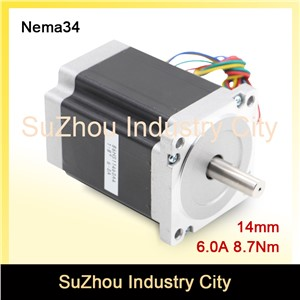 CNC NEMA 34 stepper motor 86X114mm 8.7 N.m 6A nema34 shaft 14mm stepping motor 1172Oz-in for CNC engraving machine, 3D printer!