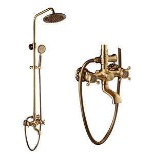 Antique Wall Mounted Shower Faucet Cold Hot Water Mixer Tap 8 Inch Shower Set Head Handheld shower Spray 1.5 Hose SEH015