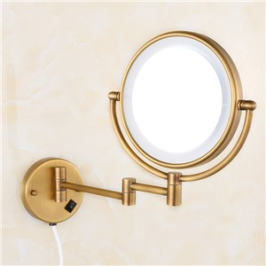 "Bath Mirrors Brass Antique 8"" Round Wall Mirrors of Bathroom Light LED Mirror Folding Cosmetic Vintage Mirror 2068F"