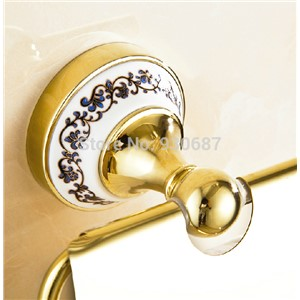 Free Ship Gold Finish Bath Soild Brass Toilet Roll Tissue Holder Wall Mounted