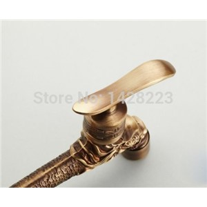 Antique Brass Dragon Carved Extended Mop Pool Taps Wall Mount Single Lever Cold Water Sink Faucet