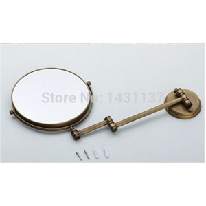 New arrival high quality bronze plating 3 times 8' magnifying mirror brass material double faced make-up  mirror