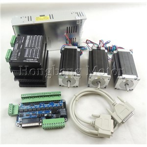CNC Router Kit 3 Axis kit ST-M5045 (replace 2M542) driver +5 axis breakout board + Nema23 425 Oz-in motor + 350W power supply