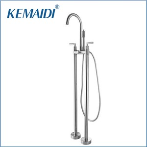 KEMAIDI Bathtub Torneira Double Handles Floor Mounted Nickel Brushed Bathroom Vessel Sink Brass Shower Set Faucet,Mixer Tap