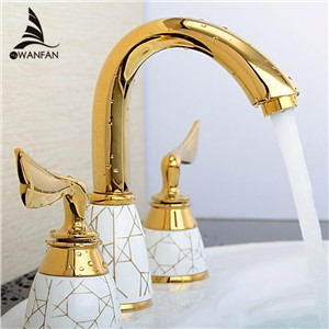 Luxury 3 Piece Set Faucet Bathroom Mixer Deck Mounted Sink Tap Basin Toilet Faucet Set Golden Finish  Mixer Tap Faucet YS-618K