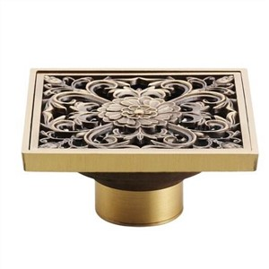 12 Style Retro Brass Bathroom Kitchen Floor Drain 4 Inch Square