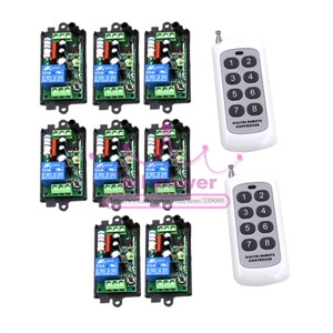 220V 1CH Radio Wireless Remote Control Switch 8 Receiver&2 transmitter Learning Code light lamp LED ON OFF Output Adjusted mini
