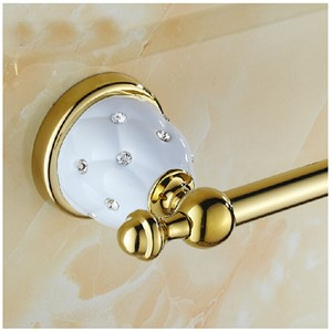 Gold Finish Brass Bathroom Towel Rack Holder With Diamond Ceramic Base W/ Hook Hangers Wall Mounted