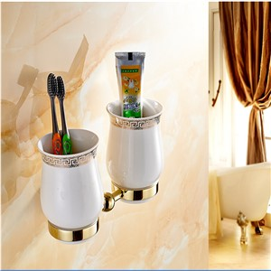 Wholesale And Retail Golden Brass Diamond Ceramic Base Tooth Brush Cup Holder Tumbler Holders With Dual Ceramic Cups