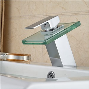 New Arrival Type Lavatory Faucet Waterfall Glass Spout Single Handle Hot Cold Water Taps Chrome