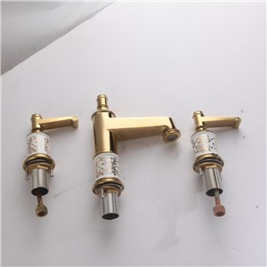 Basin Faucets 3 Hole Gold Bathroom Sink Taps Crystal Home Decoration 2 Handle Switch Deck Mounted Lavatory WC Crane OS-61176