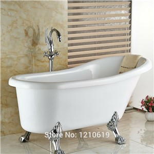 Newly Luxury Swan Style Bathroom Floor Standing Tub Faucet Mixer Tap Chrome Bathtub Faucet Dual Handles