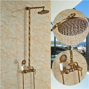 "Antique Brass Round Rain Shower Head Faucet Hot Cold Mixer Valve Hand Shower Sprayer 8"" Shower Wall Mounted"