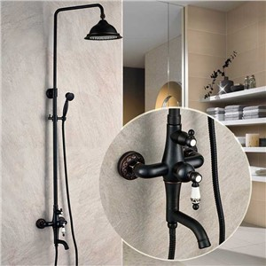 Luxury Exposed Bathroom Rainfall Shower Faucet Set Tub Mixer Tap Oil Rubbed Bronze