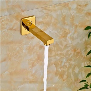 "Wholesale And Retail Golden Wall Mounted Bathroom Tub Spout Square Tub Spout 1/2"" Connection Bathroom Accessories"