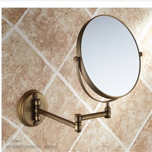 "Wholesale And Retail Bathroom Wall Mount Antique Brass Beauty Make Up Mirror 8"" Round Double Sides Mirror Magnifying Mirror"