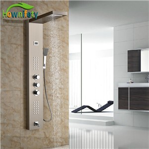 Luxury Brushed Nickle Shower Panel Exposed Bath Tub Shower Set With Handshower Bathroom Thermostatic Shower Faucets