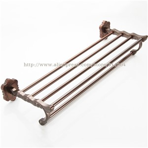 Brass Bathroom Bath Towel Rack Bar Towel Shelf  Redwood Color Pattern Ceramic Chinese Style 36F2101