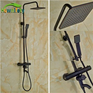 Luxury Thermostatic Shower Bath Rainfall Shower Set Oil Rubbed Bronze Shower