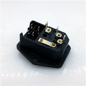 15A/250V 3pin AC power socket with Power Rocker Switch Fused