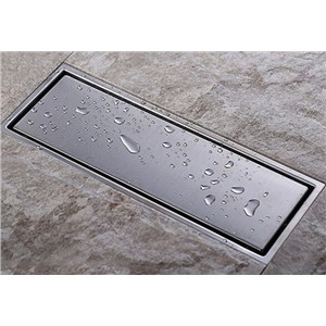 High Quality 304 solid stainless steel 300 x 110mm square anti-odor floor drain bathroom invisible shower floor drain