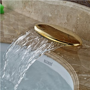 Wholesale And Retail New Design Waterfall Bathroom Faucet Spout Deck Mount Brass Golden Faucet Accessory