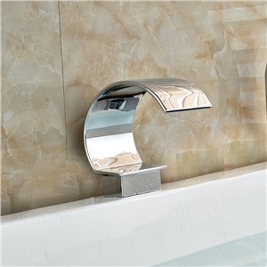 Chrome Brass Curved Spout Waterfall Faucet Spout Deck Mount Bathroom Faucet Accessories