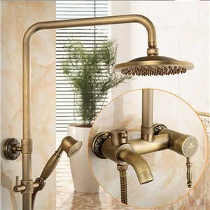 Bathroom rain shower set antique wall waterfall shower faucet with 8 inch rainfall shower solid shower mixer