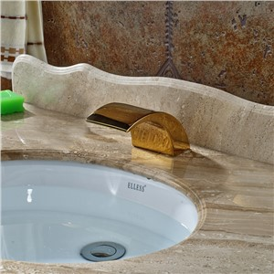 Basin Countertop Faucet Spout without Handles Waterfall Replace Spout Gold Finish