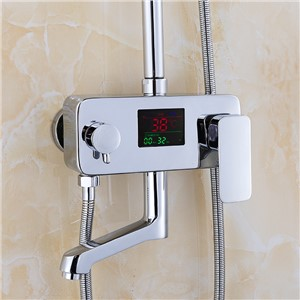 Nieneng Brass Temperature Sensitive Shower Faucet Mixer Tap with Display Bathroom Digital Panel Shower Set Faucet ICD60005