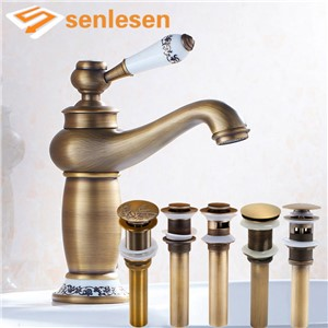 Bathroom Sink Faucet Ceramic Single Handle Antique Brass Basin Mixer Tap Deck Mounted