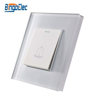 Bingoelec EU/UK standard CE certification White Crystal Glass Doorbell Switch Push Button bell switch Wall Switch Glass Frame