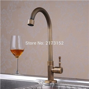 Antique Brass Rotatable Single Handle Kitchen Faucet Modern Swivel Curved Brass Basin Sink Cold Tap A-030