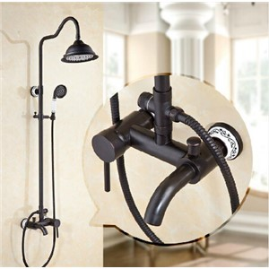 "New Black Antique Brass Wall Mounted Mixer Valve Rainfall Shower Faucet Complete Sets+8""Brass Shower Head+Hand Shower+Hose"