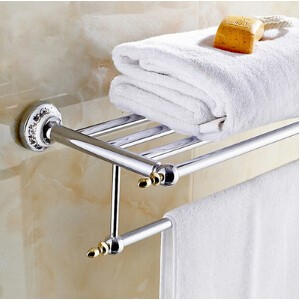 High Quality Bathroom towel holder with Ceramic Base, Brass towel rack,60cm towel shelf