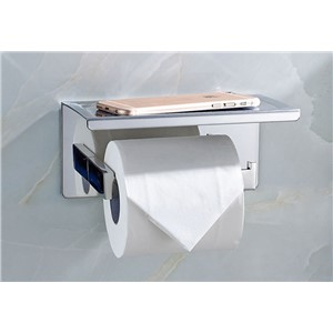 Bathroom Single Tissue Holder/ Toilet Paper Holder, Tissue Roll Holder with Shelf, Self Adhesive 08/-011