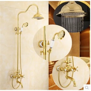 Retro Style Bathroom golden Antique Gold Brass Bathtub & Shower Faucet Brass Shower Head Single Handle Shower Faucet set
