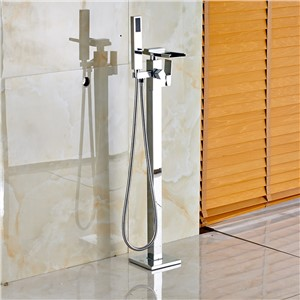 Fashionable Design Waterfall Spout Floor Mounted Tub Shower Faucet Chrome Finish