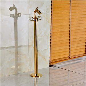 Floor Mounted Dragon Golden Bathroom Tub Faucet Tub Filler Shower Mixer Tap Single Handle New
