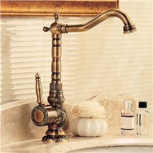 AUSWIND European Antique Copper Faucet Carved Hot And Cold Water Plus High Rotary Tap Decked Mounted Faucet bathroom accessories