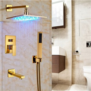 "LED Light Color Changing Gold Finish 12"" Brass Shower Head with Tub Spout & ABS Handshower"