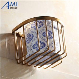 410AAP Series Antique Brush Toilet Paper Holders Aluminum & Porcelain Base Bathroom Accessories Paper Shelf  Round Basket